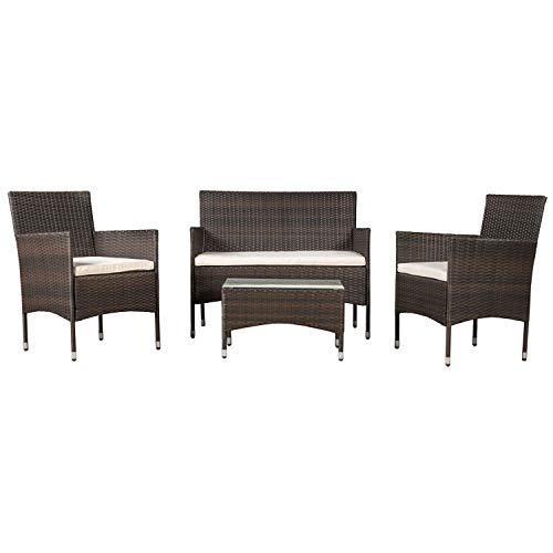 ArtLife Polyrattan Sitzgruppe Fort Myers braun   Sitzbank, 2 Sessel, Tisch & dunkelgrauen Bezügen   Gartenmöbel für Balkon und Terrasse