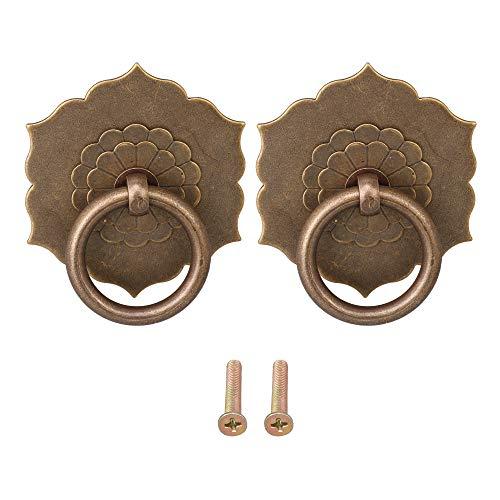 Mxfans 2 tiradores de bronce para cajón, arandela, arandela, 3,5 cm, mango...
