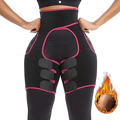 VVA Waist Trainer Women - 3-in-1 Waist and Thigh Trimmer Butt Lifter Shaper (Z-S-M,Pink)