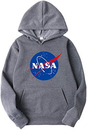 OLIPHEE Sweat NASA Logo Centre Imprimé Homme Sweat-Shirt National Space Administration S Gris foncé-1