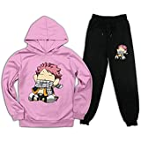 CAPINER Kids Anime FAI-ry Ta-il NA-Tsu Tracksuit Sets Hoodies Sweatsuit Sweatpants Outfit Set for Boys Girls XXL Pink and Black