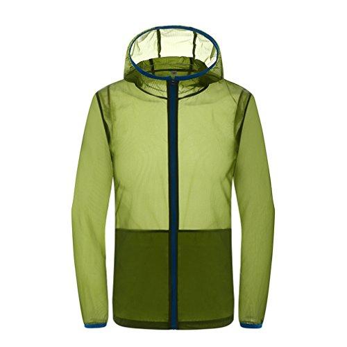 CIKRILAN Femme Ultra léger Mince Protection Solaire Anti-UV Veste Hoodie Zip Plage Quick Dry Outdoor Sport Veste (XXXX-Large, Vert)