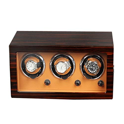 LSRRYD Relojes Cajas Giratorias Madera Cajas Giratorias para Relojes para Automático 3 Relojes Motor Silencioso y Modo 5 Ajustable PU Reloj Almohada (Color : Brown, Size : 36x18x18cm)