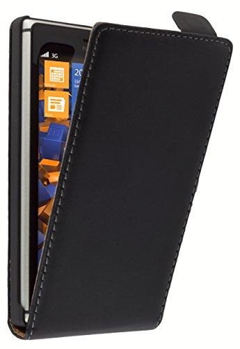 mumbi Echt Leder Flip Case kompatibel mit Nokia Lumia 925 Hülle Leder Tasche Case Wallet, schwarz