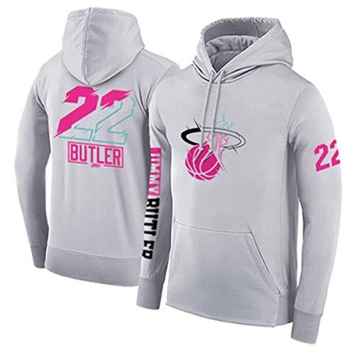 ZSPSHOP Sudadera de baloncesto NBA Miami Heat No.22 Butler para hombre con capucha engrosada, jersey suelto de baloncesto (color: gris, tamaño: mediano)
