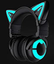 New Edition 3RGB Wireless Bluetooth5.0 Cat Ear Headphones (10 Color Changing) (Black)