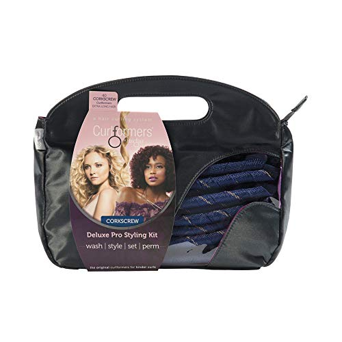 Curlformers Hair Curlers Deluxe Range Corkscrew Curls Styling Kit, 40 No Heat Hair Curlers and 2 Styling Hooks for Extra Long Hair up to 22' (55cm) long