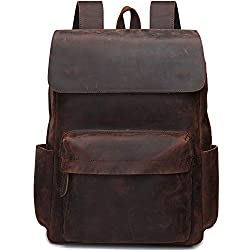 S-ZONE Leather Backpacks For Men