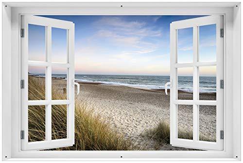 Wallario Garten-Poster Outdoor-Poster mit Fenster-Illusion: Strandspaziergang im Urlaub an der Ostsee in Premiumqualität, Größe: 61 x 91,5 cm, für den Außeneinsatz geeignet