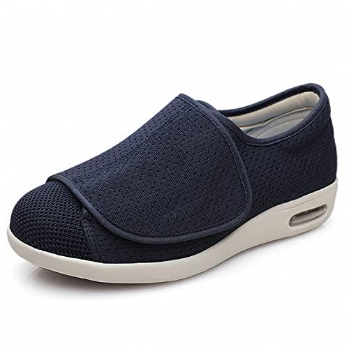 Zapatillas Diabéticas para Mujer para Hombres, Artritis Edema Sneaker Cierre Ajustable Pies Hinchados Pies Cerrado Toe Memoria Espuma Sandalias para Caminar,Azul,36