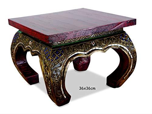 livasia Opiumtisch mit Glasmosaikverzierungen, Beistelltisch aus Holz, Nachttisch, asiatischer Hocker, Podest (36cm)