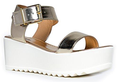 Soda de las mujeres plataforma sandalias de hebilla–abierto Peep Toe Moda Chunky tobillo correa zapatos–Navegar por J Adams