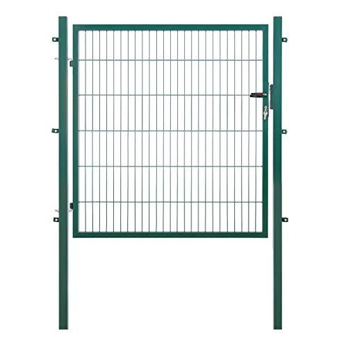 Arvotec Gartentor, grün, 200x50, BxH:1200x1200mm - Pfosten inkl. passenden Anschlussstücken für Stabmattenzaun - inkl. Montagematerial und Schlüsseln