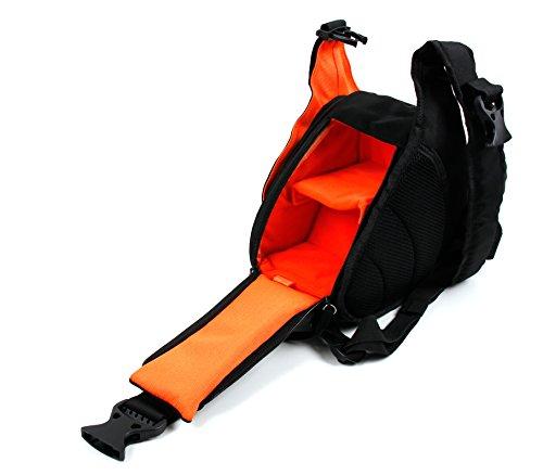 DURAGADGET Petit Sac à Dos Noir/Orange Triangle pour Nikon KEYMISSION 170 & KEYMISSION 80, Sony HDR AS20V – Multi-Poches et séparateurs