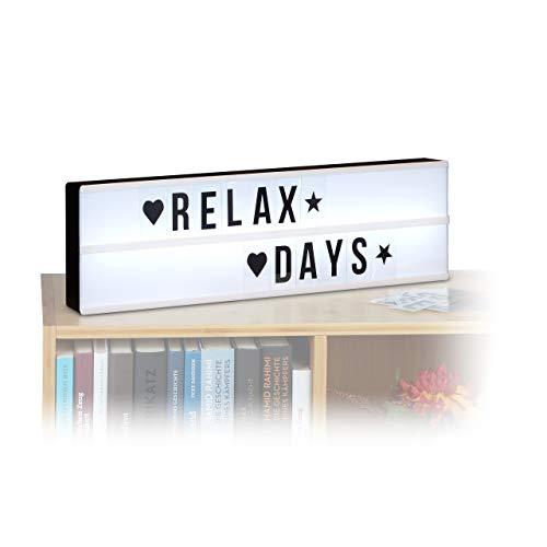Relaxdays Caja de Luz LED con Letras y Símbolos