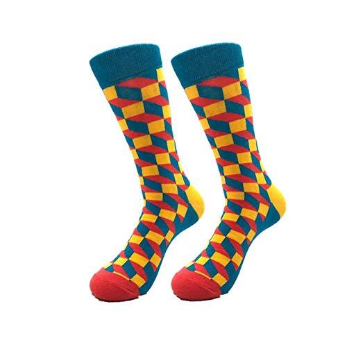 Premium Happy Socks Combed Katoen Gestreept Plaid Funny Socks Autumn Winter Casual Men's Socks van ondergoed en Pajamaseach met 5 paar sokken