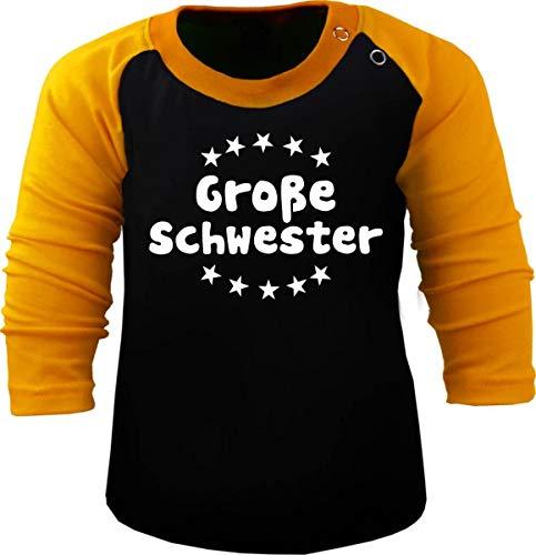 Baby/Kinder Baseball Langarm T-Shirt (Farbe: schwarz-gelb) (Gr. 152/164) Große Schwester