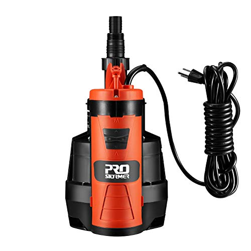 Sump Pump, PROSTORMER 2110GPH 1/2HP Submersible Clean/Dirty Water Pump with Build-in Float Switch for Pool, Pond,Garden, Flooded Cellar, Aquarium and Irrigation …