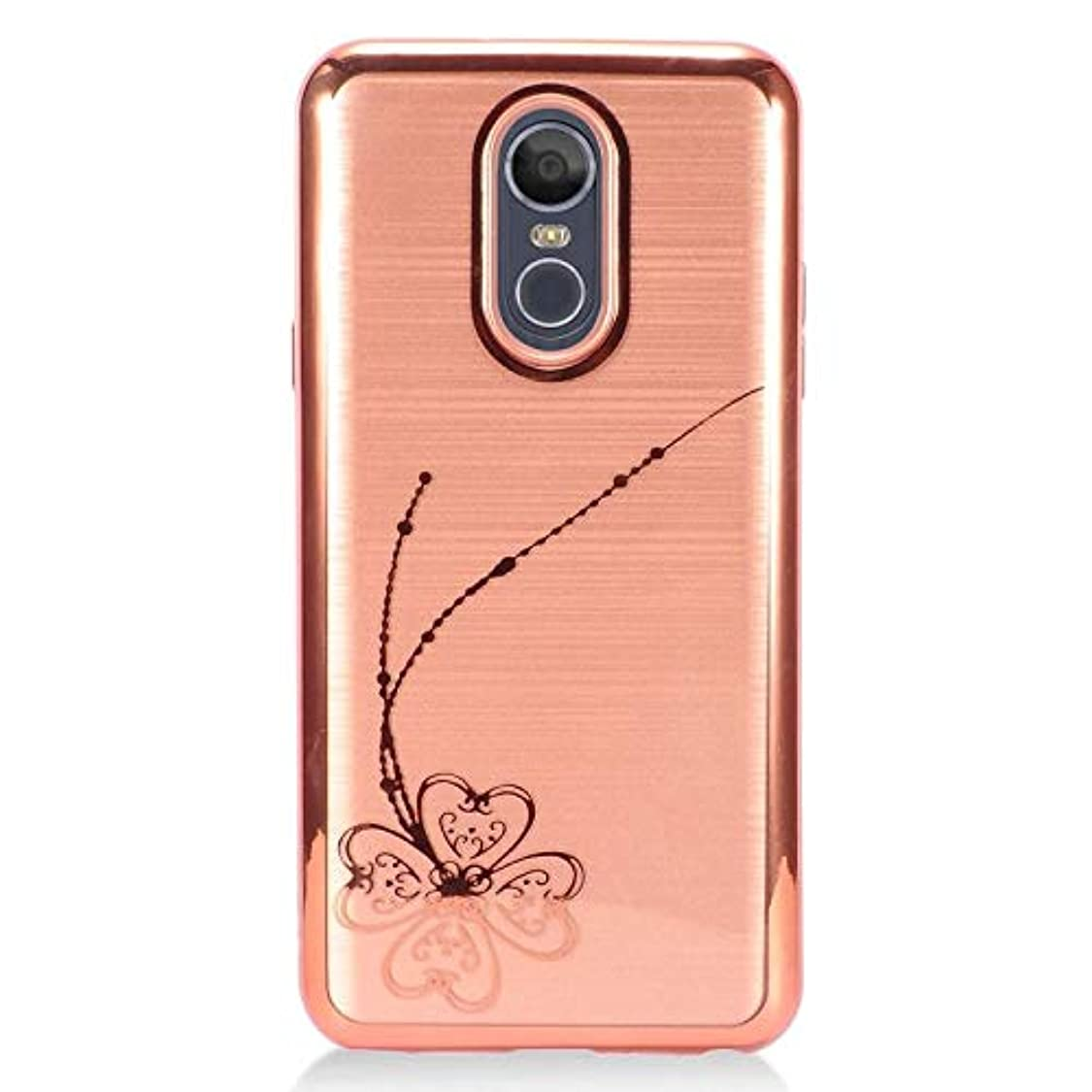 Insten Four-Leaf Clover Dual Layer [Shock Absorbing] Protection Hybrid PC/TPU Rubber Case Cover Compatible with LG Stylo 4, Rose Gold ka93969650599876