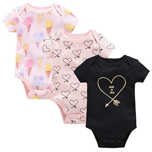 Kavkas - Body a maniche corte, in morbido cotone, per neonati, unisex, confezione da 3 pezzi (0-12 mesi) Set d'amore 0-3 mesi