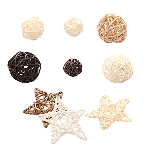 PRETYZOOM 9 Piezas Bolas de Mimbre de Ratán Estrellas Orbes Decorativos Jarrones de Relleno Decoración Del Árbol de Navidad en Casa Mesa de Boda Centro de Mesa Accesorios para Fotos de