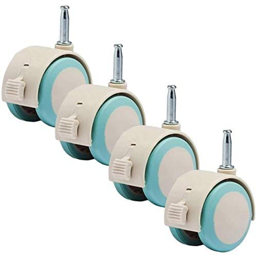 Rueda giratoria giratoria de goma de 2 pulgadas, cuna de muebles con freno, ruedas de reemplazo, con bloqueo de freno, varilla de montaje de 6.7 mm, con manguito de montaje, 4pcs ( Size : 25mm/1inch )