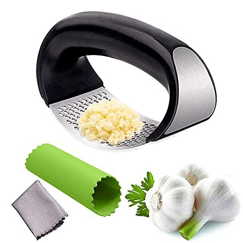 Prensa de ajos, prensa de ajos con agujero cuadrado, cortador de ajos, manual de instrucciones (idioma español no garantizado)