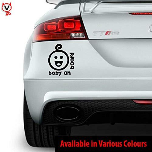 myrockshirt Lustiger Baby Emoji ca 15cm Baby on Board Aufkleber Sticker Autoaufkleber Profi-Qualität Sticker UV-fest