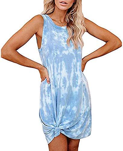 mazaer Women's Casual Tie Dye Short Dress Crew Neck Sleeveless Loose T Shirt Mini Dress