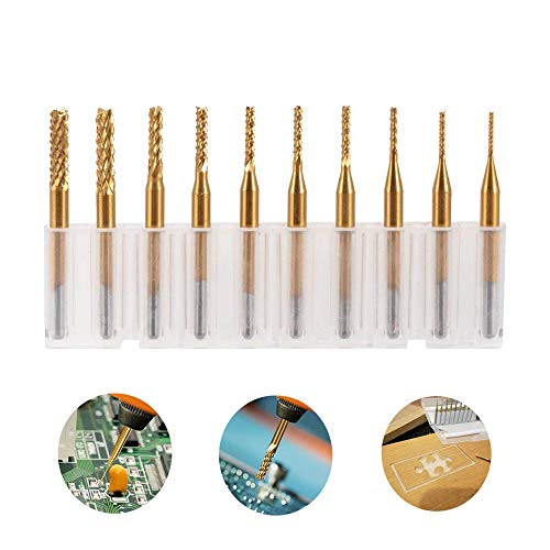 10 pcs End Mill Bits, PCB Engraving Milling Cutter Titanium Coated Drill Bits Set Micro Rotary CNC End Mill Rotary Tool (0.8-3.17mm)