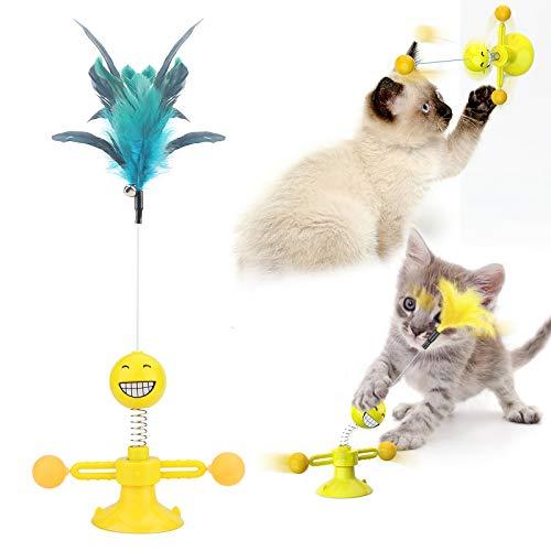 Juguete para gato,Juguetes para Mascotas,juguetes interactivos para gatos,Juguetes con plumas para gatos con campana,juguete giratorio para gatos Molino de Viento,suministros para gatos-amarillo