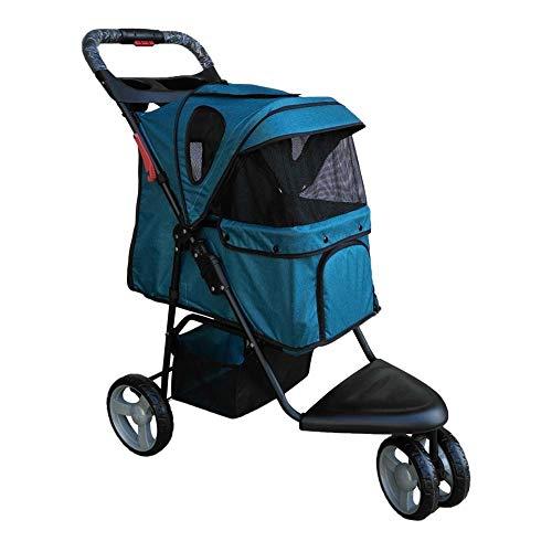 Huisdier, kinderwagen, kat, hond, kooi, kinderwagen, travel vouwcarrier, fietskar kinderwagen, installatie-sleutel 48 x 80 x 98 cm, 10,8 cm blauw