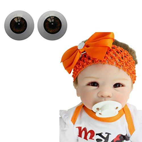Exteren 22mm-Reborn-Baby-Dolls-Eyes-Half-Round-Acrylic-Eyes-Brown-for-BJD-OOAK-Doll (Brown) -  Exte-41506