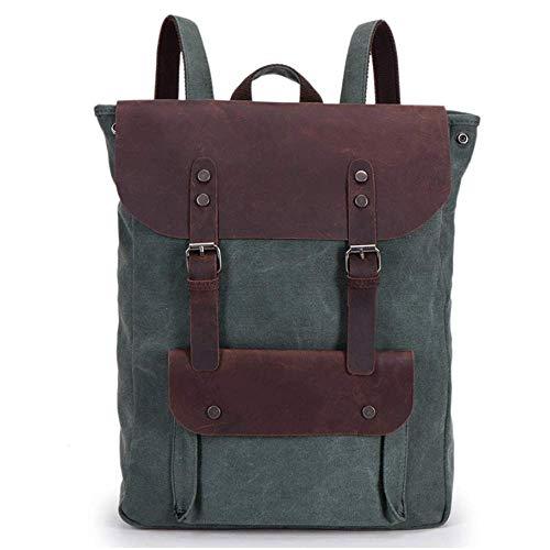Eysee Rucksack Canvas mit Leder-Vintage Unitasche Studententasche Tagesrucksack Segeltuch Daypack
