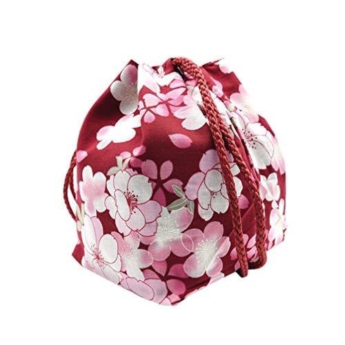Amosfun schmuckbeutel Tasche japanischen Kimono Print Kordelzug geldbörse kirschblütengeschenk Tasche Kosmetiktasche für Frauen mädchen würfel halsketten Ohrringe armbänder (weinrot)