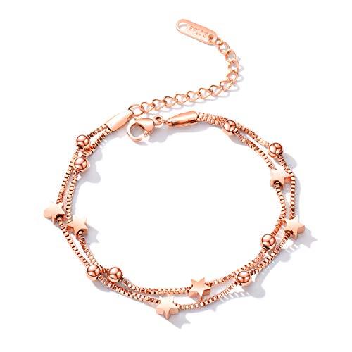Oidea Damesarmband, gelaagde armband met bolletje, pentagram, sterhanger, in roségoud, zacht, verstelbaar