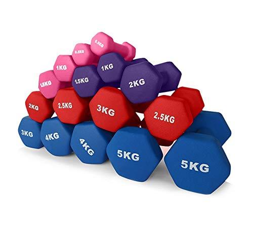 Shocly Hanteln Neopren Dumbbells Rutschsicher Kurzhanteln Unisex Heimfitnessgeräte Kurzhantel für Gymnastik Aerobic Pilates 2x0.5kg - 5kg,Blue,2x4kg