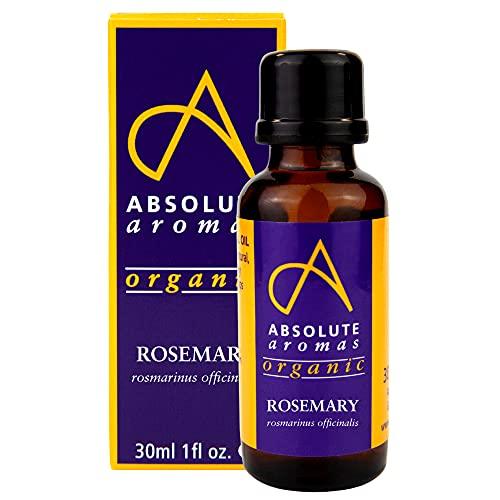 Absolute Aromas Olio Essenziale di Rosmarino Biologico 30 ml - 100% puro, naturale e certificato biologico, per aromaterapia, diffusori, capelli e cura della pelle