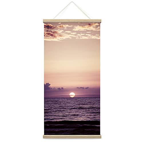 "Bestdeal Depot Hanging Poster Sun Setting into the Ocean IX Coastal Multicolor Photography Relax/Calm Romantics Sunset Canvas Prints Wall Art for Living Room, Bedroom - 18""x36"""