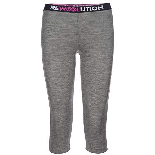 Rewoolution Leggings a 3/4 LIns Mesh Donna, Fog, S