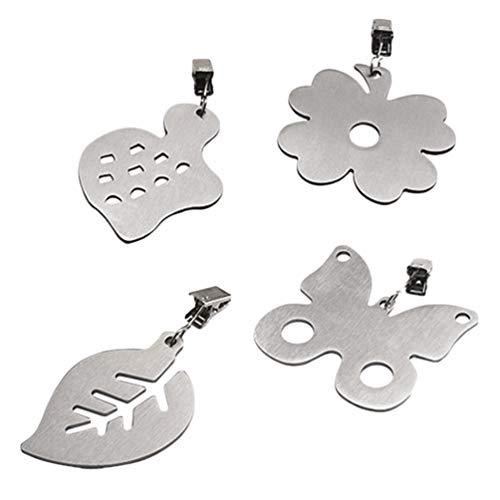Hemoton 4 Stuks Metalen Clip Hangers Tafelkleed Tafelkleedgewichten (Zilver Willekeurig Patroon)