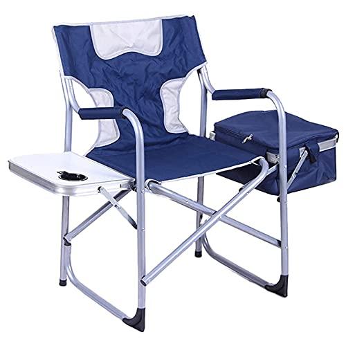 FLBTY Sedia Pieghevole da Campeggio per Pesca da Spiaggia, Viaggio all'aperto più Leggero e più Resistente, Sgabello da Regista con tavolino Laterale per Borsa Termica (116 × 77 × 47 cm)