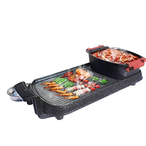 WSJTT Großer Teppanyaki Grill | Elektrischer Grill-Tischgrill mit einstellbarem Temperaturregler Separable Hot Pot Eintopf-Antihaft-Backform Rauchfreier Grill 1800W Hohe Leistung