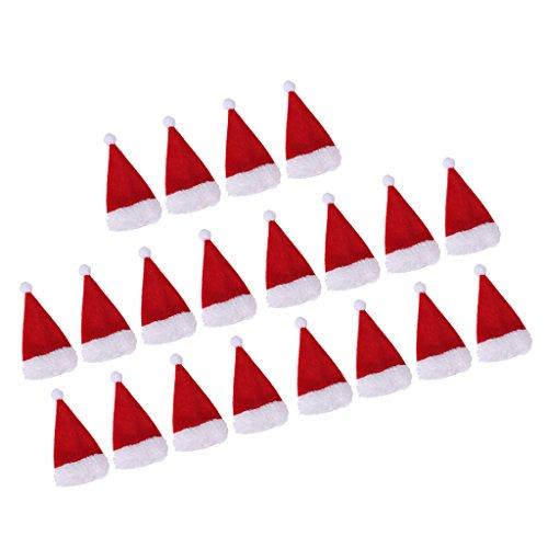 Sharplace Mini Cappellino Di Babbo Natale Copertura Della Bottiglia Di Vino Ornamento Per Tavala Sala Da Pranzo - 20pcs