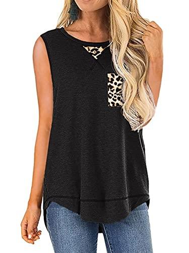 Colisha Leopard Pocket Vest Tops para mujeres sin mangas cuello redondo camisetas de dobladillo irregular suelta Tee Tank