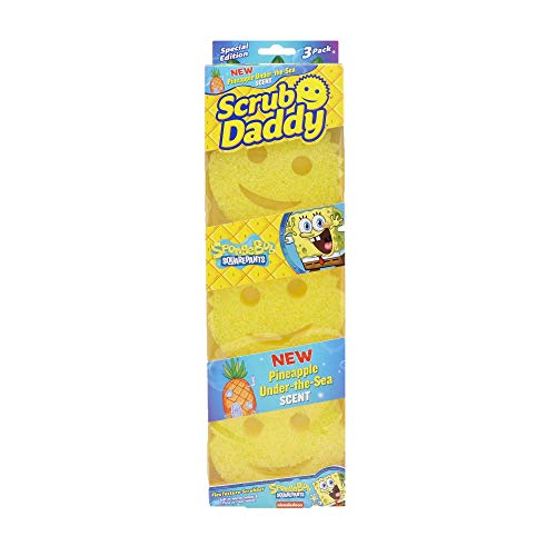 Scrub Daddy- Pineapple Under The Sea Scrubber - Pineapple Scented, FlexTexture, Soft in Warm Water, Firm in Cold, Deep Cleaning, Dishwasher Safe, Multiuse, Scratch Free, Odor Resistant (3 Count)