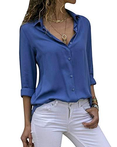 Cassiecy Damen Bluse Chiffon Elegant V-Ausschnitt Langarm Casual Oberteile Hemd Lose Langarmshirt Tops(Blau,S)