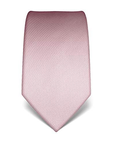 Vincenzo Boretti Herren Krawatte reine Seide strukturiert edel Männer-Design zum Hemd mit Anzug für Business Hochzeit 8 cm schmal/breit rosa