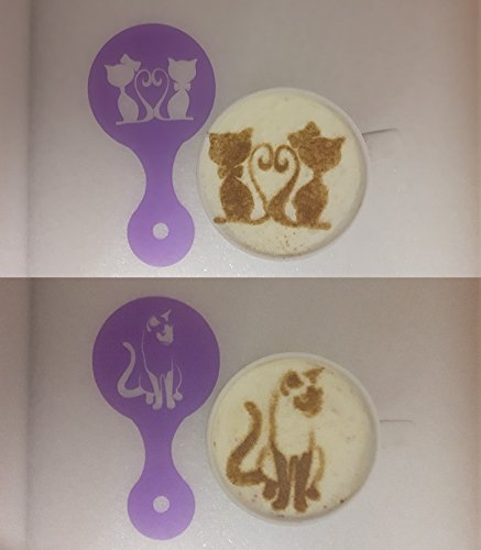 2 x cat coffee cup/cappuccino stencils reusable many times present gift cafe