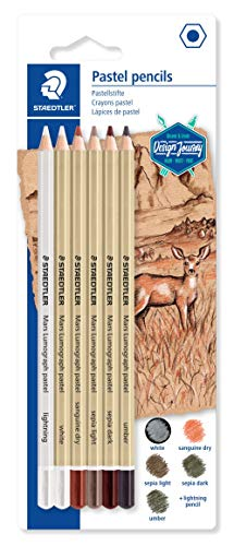 Staedtler Mars Lumograph 100P-SBK6. Pack de 6 lápices pastel de colores surtidos.